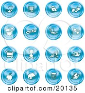 Clipart Illustration Of A Collection Of Blue Icons Of An Arrow Floppy Disc Padlock Mail Coffee Link Laptop Printer Shopping Cart Hourglass Computer Email Apple House Camera And Globe