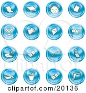 Clipart Illustration Of A Collection Of Blue Icons Of A Cash Register Book Customer Service Medal Envelope Handshake Pie Chart Pen Cell Phone Credit Card And Folder by AtStockIllustration