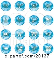 Clipart Illustration Of A Collection Of Blue Icons Of Music Notes Guitar Clapperboard Atom Microscope Atoms Messenger Painting Book Circus Tent Globe Masks Sports Balls And Math