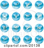 Clipart Illustration Of A Collection Of Blue Beauty Icons Of Mascara Brushes Body Wash Nail Polish Perfume Hairspray Blow Dryer Comb Shampoo And Conditioner Compact Lipstick Lotion Towels Hair Straightener And Hand Mirror
