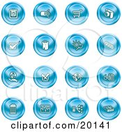 Clipart Illustration Of A Collection Of Blue Icons Of A Calendar Cables Shopping Cart Camera Check Mark Fortress News Trash Can Chart Networking And Information