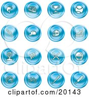 Clipart Illustration Of A Collection Of Blue Fishing Hockey Trophy Baseball Golfing Racing Ice Skating Skiing Cricket And Cycling Sports Icons
