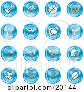 Clipart Illustration Of A Blue Athletics Icons Of A Badmitten Shuttlecock Football Basketball Golf Ball Bowling Curling Stone Tennis Medal Hockey Ping Pong Billiards Football Helmet Soccer Ball Boxing And Rugby by AtStockIllustration