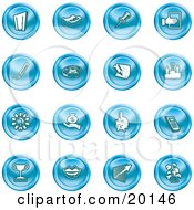 Clipart Illustration Of A Collection Of Blue Icons Of A Door Tape Dispenser Tack Pencil Phone Champion Lightbulb Money Bag Piggy Bank Cell Phone Trophy Lips Chart And Plant by AtStockIllustration