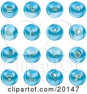 Clipart Illustration Of A Collection Of Blue Icons Of Gifts Radio Mask Alcohol Kebobs Disco Ball Clown Party Hats Balloons And Beer