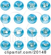 Clipart Illustration Of A Collection Of Blue Icons Of A Communications Tower Www Home Page Shopping Cart Messenger Printer Camera Street Light Lightbulb Hourglass And Search