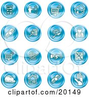 Clipart Illustration Of A Collection Of Blue Icons Of Apartments Handshake Real Estate House Money Classifieds Brick Laying Businessman Hardhat And A Key