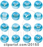 Collection Of Blue Icons Of A Knee Joint Pills Heart Wheat Shoes Chart Water Bottle Weights Bike Swimmer Fitness Clothes Muscles Lungs And Trophy