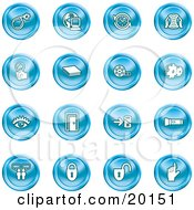 Clipart Illustration Of A Collection Of Blue Icons Of A Bomb Computer Letter Magnifying Glass Book Film Cogs Eye Door Flashlight Messenger Padlocks And Reminder by AtStockIllustration