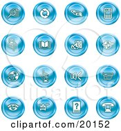 Clipart Illustration Of A Collection Of Blue Icons Of Security Symbols