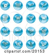 Clipart Illustration Of A Collection Of Blue Icons Of Medicine Science And Biology by AtStockIllustration