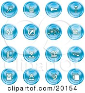 Clipart Illustration Of A Collection Of Blue Icons Of A Magnifying Glass Cash Register Flashlight Internet Film Upload Download Home Page And Connectivity