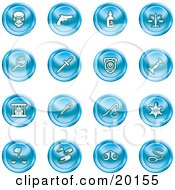 Clipart Illustration Of A Collection Of Blue Icons Of A Skull Pistol Poison Scales Magnifying Glass Knife Police Badge Candlestick Prisoner Syringe Sheriff Badge Pills Handcuffs And A Noose