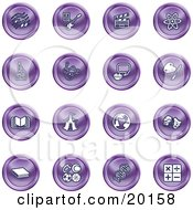 Clipart Illustration Of A Collection Of Purple Icons Of Music Notes Guitar Clapperboard Atom Microscope Atoms Messenger Painting Book Circus Tent Globe Masks Sports Balls And Math by AtStockIllustration