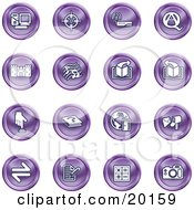 Clipart Illustration Of A Collection Of Purple Icons Of A Computer Viewfinder Wireless Questions And Answer Castle Music Forward Back Www Mail Math And Camera