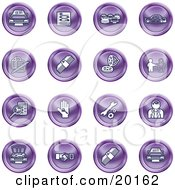 Clipart Illustration Of A Collection Of Purple Icons Of Cars A Log Cash Lemon Dealer Ads Key Wrench Engine Handshake And Money