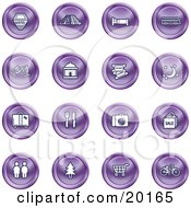 Clipart Illustration Of A Collection Of Purple Icons Of A Hotel Road By Train Tracks Bed Bus Wine Glasses Tickets Moon Luggage Diner Camera Shopping Restrooms Tree Shopping Carts And Bicycle