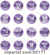 Clipart Illustration Of A Collection Of Purple Icons Of Security Symbols On A White Background