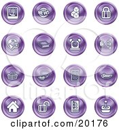 Clipart Illustration Of A Collection Of Purple Icons Of A Polaroid News Cubes Padlock Www Search Book Alarm Clock Connectivity Messenger Speaker Calculator Home Blog And Joystick