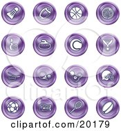 Clipart Illustration Of A Collection Of Purple Athletics Icons Of A Badmitten Shuttlecock Football Basketball Golf Ball Bowling Curling Stone Tennis Medal Hockey Ping Pong Billiards Football Helmet Soccer Ball Boxing And Rugby by AtStockIllustration