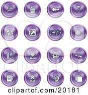 Clipart Illustration Of A Collection Of Purple Icons Of A Magnifying Glass Cash Register Flashlight Internet Film Upload Download Home Page And Connectivity