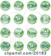 Clipart Illustration Of A Collection Of Green Icons Of Cars A Log Cash Lemon Dealer Ads Key Wrench Engine Handshake And Money