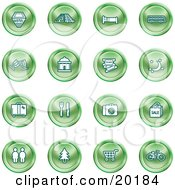 Clipart Illustration Of A Collection Of Green Icons Of A Hotel Road By Train Tracks Bed Bus Wine Glasses Tickets Moon Luggage Diner Camera Shopping Restrooms Tree Shopping Carts And Bicycle by AtStockIllustration