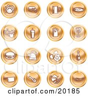 Clipart Illustration Of A Collection Of Orange Icons Of Food And Kitchen Items On A White Background by AtStockIllustration