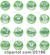 Clipart Illustration Of A Collection Of Green Icons Of Security Symbols On A White Background