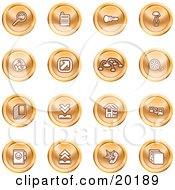 Clipart Illustration Of A Collection Of Orange Icons Of A Magnifying Glass Cash Register Flashlight Internet Film Upload Download Home Page And Connectivity by AtStockIllustration