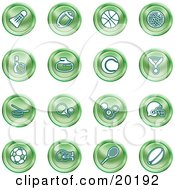 Clipart Illustration Of A Collection Of Green Athletics Icons Of A Badmitten Shuttlecock Football Basketball Golf Ball Bowling Curling Stone Tennis Medal Hockey Ping Pong Billiards Football Helmet Soccer Ball Boxing And Rugby by AtStockIllustration