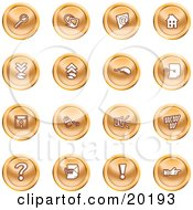 Clipart Illustration Of A Collection Of Orange Icons Of A Magnifying Glass Email Home Page Upload Download Mouse Key Disc Padlock Speaker Www Questionmark And Exclamation Point by AtStockIllustration