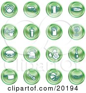 Clipart Illustration Of A Collection Of Green Icons Of Food And Kitchen Items On A White Background