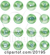 Clipart Illustration Of A Collection Of Green Icons Of A Magnifying Glass Cash Register Flashlight Internet Film Upload Download Home Page And Connectivity by AtStockIllustration