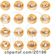 Clipart Illustration Of A Collection Of Orange Icons Of An Arrow Floppy Disc Padlock Mail Coffee Link Laptop Printer Shopping Cart Hourglass Computer Email Apple House Camera And Globe