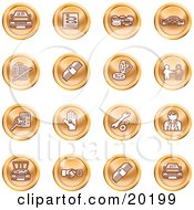 Clipart Illustration Of A Collection Of Orange Icons Of Cars A Log Cash Lemon Dealer Ads Key Wrench Engine Handshake And Money