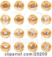 Clipart Illustration Of A Collection Of Orange Icons Of Music Notes Guitar Clapperboard Atom Microscope Atoms Messenger Painting Book Circus Tent Globe Masks Sports Balls And Math by AtStockIllustration