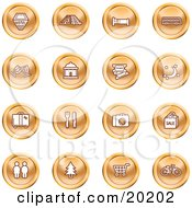 Clipart Illustration Of A Collection Of Orange Icons Of A Hotel Road By Train Tracks Bed Bus Wine Glasses Tickets Moon Luggage Diner Camera Shopping Restrooms Tree Shopping Carts And Bicycle by AtStockIllustration