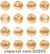 Clipart Illustration Of A Collection Of Orange Icons Of A Calendar Cables Shopping Cart Camera Check Mark Fortress News Trash Can Chart Networking And Information by AtStockIllustration