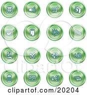 Clipart Illustration Of A Collection Of Green Icons Of A Calendar Cables Shopping Cart Camera Check Mark Fortress News Trash Can Chart Networking And Information by AtStockIllustration