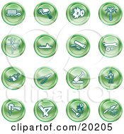 Clipart Illustration Of A Collection Of Green Icons Of A Big Rig Paint Roller Cogs Oil Turbines Ship Saw Wrench Pliers Shovel Hammer Gardening And Brick Laying