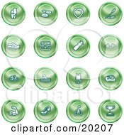 Clipart Illustration Of A Collection Of Green Icons Of A Knee Joint Pills Heart Wheat Shoes Chart Water Bottle Weights Bike Swimmer Fitness Clothes Muscles Lungs And Trophy by AtStockIllustration