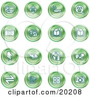 Clipart Illustration Of A Collection Of Green Icons Of A Computer Viewfinder Wireless Questions And Answer Castle Music Forward Back Www Mail Math And Camera