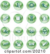 Clipart Illustration Of A Collection Of Green Fashion Icons Of A Diamond Ring Boots Necklace Shoes Purses Dress Jacket Hats Sunglasses And Lipstick