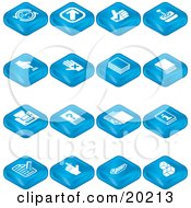 Clipart Illustration Of A Collection Of Blue Tablet Icons Of Arrows Joystick Button Book Printer Questions Information Compose Reminder Calculator And Cubes