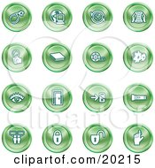 Clipart Illustration Of A Collection Of Green Icons Of A Bomb Computer Letter Magnifying Glass Book Film Cogs Eye Door Flashlight Messenger Padlocks And Reminder by AtStockIllustration