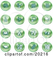 Clipart Illustration Of A Collection Of Green Icons Of Music Notes Guitar Clapperboard Atom Microscope Atoms Messenger Painting Book Circus Tent Globe Masks Sports Balls And Math by AtStockIllustration