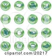 Clipart Illustration Of A Collection Of Green Food Icons Of A Martini Pigs Fish Juice Kebobs Corn Wine Beer Chicken Breakfast Fruit Bread Meal Burger And Cheese