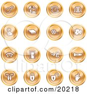 Clipart Illustration Of A Collection Of Orange Icons Of A Bomb Computer Letter Magnifying Glass Book Film Cogs Eye Door Flashlight Messenger Padlocks And Reminder by AtStockIllustration