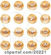 Clipart Illustration Of A Collection Of Orange Icons Of A Knee Joint Pills Heart Wheat Shoes Chart Water Bottle Weights Bike Swimmer Fitness Clothes Muscles Lungs And Trophy by AtStockIllustration